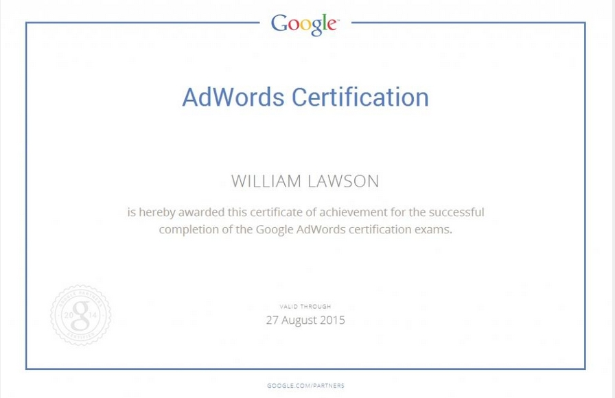 dental ppc adwords certificate